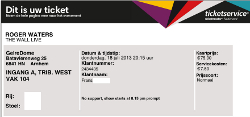 Roger Waters Arnhem ticket 2013