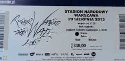 Roger Waters - Warsaw 2013 ticket
