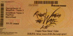 Roger Waters 2013 Sofia ticket