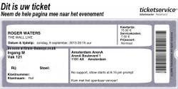 Roger Waters - Amsterdam 2013 ticket