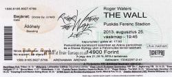 Roger Waters Budapest 2013 concert ticket