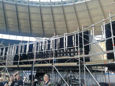 Berlin Olympiastadion - projectors for Roger Waters concert, 2013