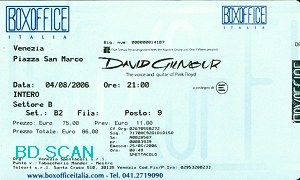 David Gilmour ticket scan