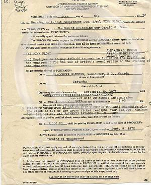 Pink Floyd concert contract, 1972, Vancouver, Canada