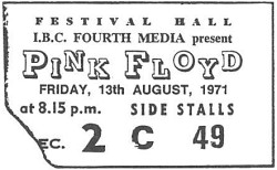 Pink Floyd, Melbourne 1971 ticket