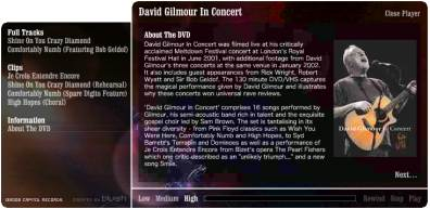 David Gilmour In Concert DVD video player